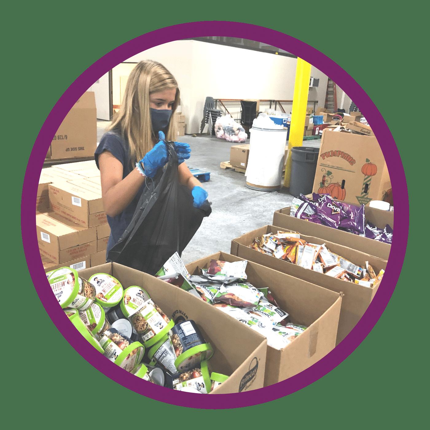 young girl sorting food for global awareness